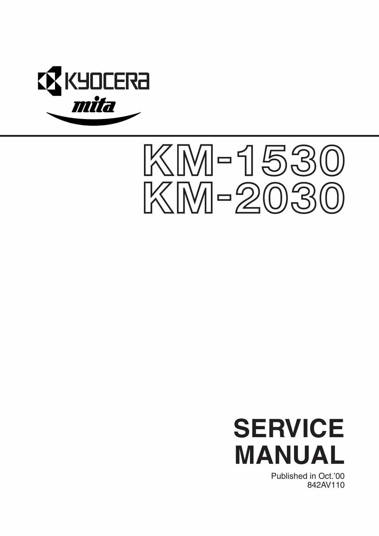 KYOCERA Copier KM-1530 2030 Service Manual